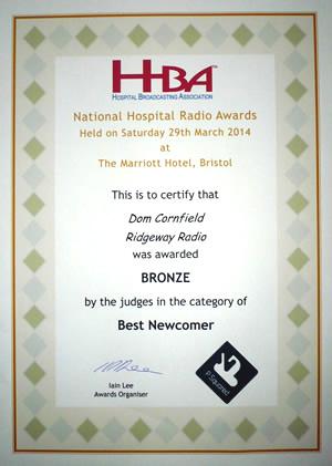 Dom Cornfield certificate 2014
