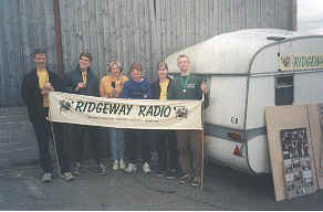 The crew and our trusty OB caravan