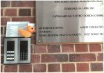 Photo of One of the knitted ducks outside the Trust Headquarters